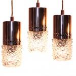 3 leuchten aus noppenglas mit kupfer
