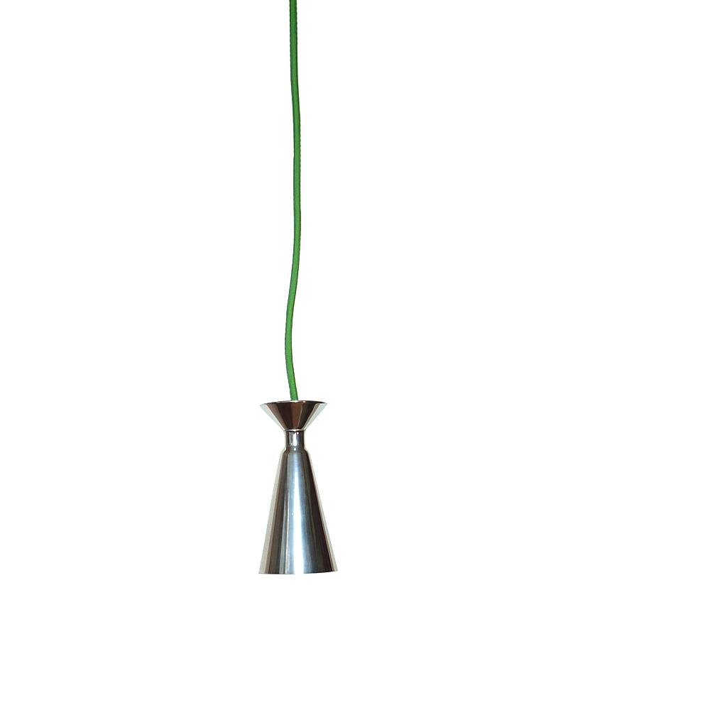 kleine deckenlampe aus aluminium mit grünem stoffkabel