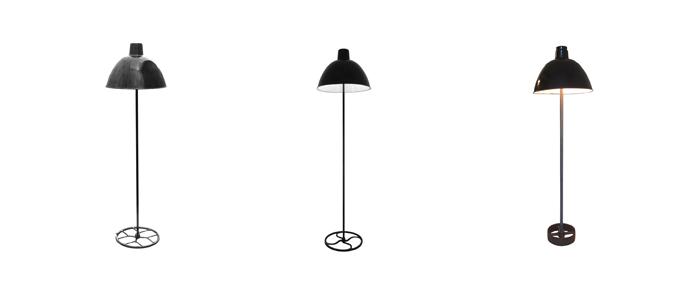 Stehlampen mit schwarzen Emaille Glocken