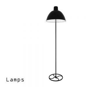 Industriedesign Stehleuchte mit Emaille Lampenglocke