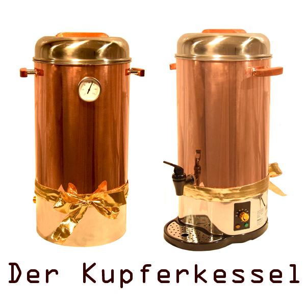 Glühweintopf aus Kupfer mit Thermometer